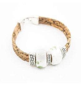 Captain Cork Bracelet with ceramic beads in white