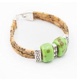 Captain Cork Armband keramische kralen in groen