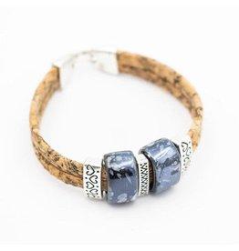 Captain Cork Bracelet with ceramic beads in blue