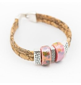 Captain Cork Bracelet with ceramic beads in pink