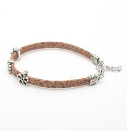 Captain Cork Bracelet with fine flowers in Natural color