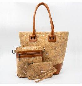Captain Cork Set van 3 tassen: stijlvolle handtas met een schoudertasje en portemonnee