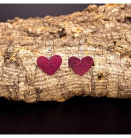 Captain Cork Earrings in heart shape wine wine red