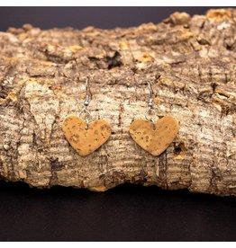 Captain Cork Oorbellen uit kurk hartvormig natuur