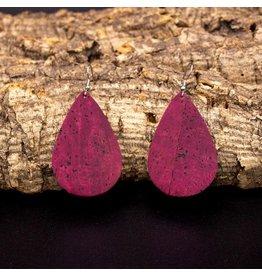 Captain Cork Earrings in water drop shape in wine red