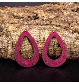 Captain Cork Oorbellen uit kurk druppelvormig wijnrood loops