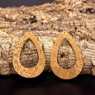 Captain Cork Earrings in water drop shape in nature loops