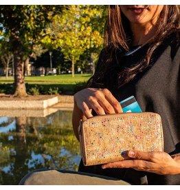 Captain Cork Zeer ruime en dubbele portemonnee dames confetti kleuren met polsbandje