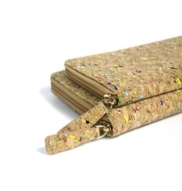 Captain Cork Clutch / large woman's purse with card holder natural and confetti