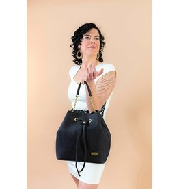 Captain Cork Bag Chantal with strap in black with golden details