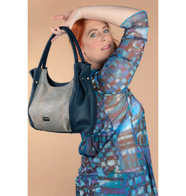 Stylish and classic lady's bag Pia with alligator print in blue