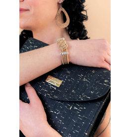 Timeless shoulder bag Tinne in Black and Gold