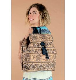 Backpack Sam  with etnical Indian print blue elephants