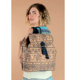 Captain Cork SAM - Backpack with etnical Indian print blue elephants