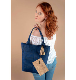 JETTE - Tote bag with tassel and extra purse  navy blue