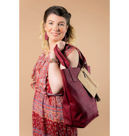 Tote bag Jette with Tassel and extra purse  wine red