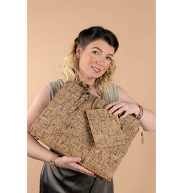 Captain Cork Laptop bag Ingrid  with extra purse in natural cork color and grain