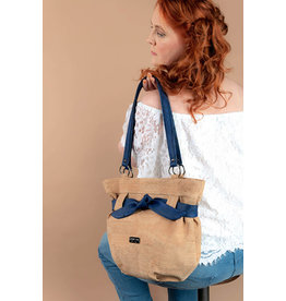 Captain Cork Very beautiful, trendy and stylish bag Maria with ribbon in blue