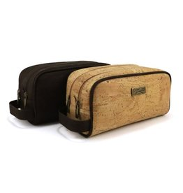 Captain Cork Patsy large Cosmetic Toiletrie bag with double zipper dark brown