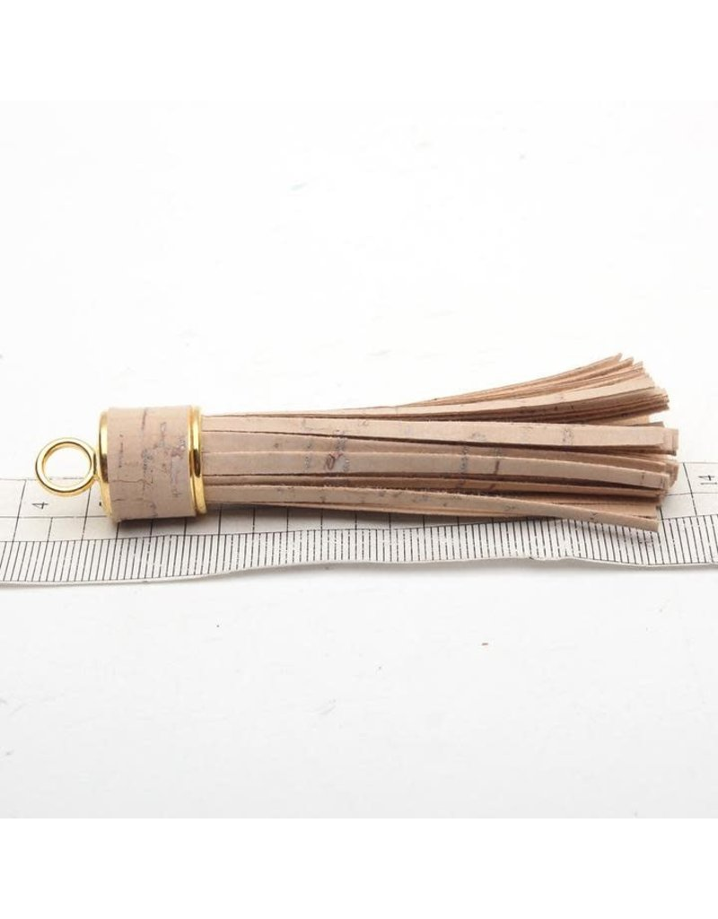 Tassle out of cork in white