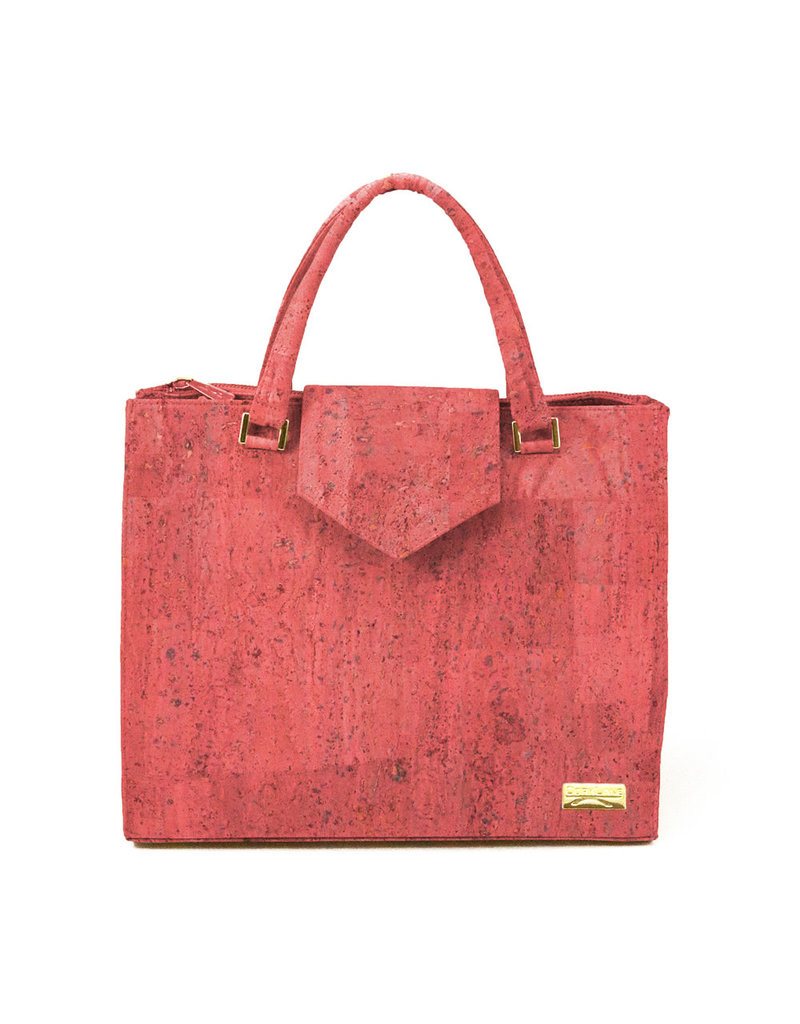 Captain Cork LIES - Ecological hand bag coral red