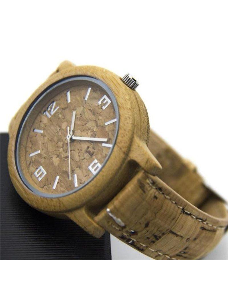 Captain Cork Horloge Handgemaakt, unisex, kurk gecombineerd met Bamboo