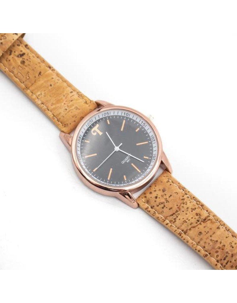 Stijlvolle klassieke horloge rose gold uit kurk