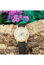 Captain Cork Horloge uit hout met een kurklederen band zwart