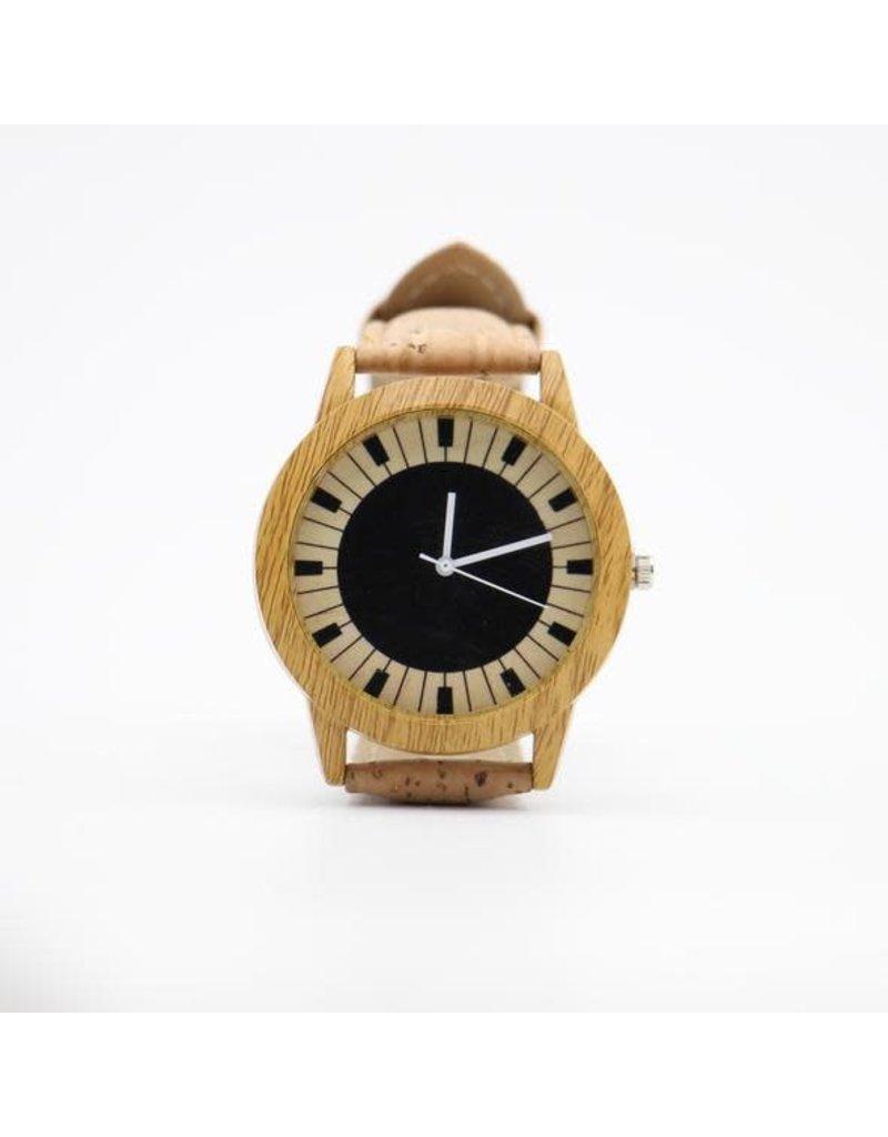 Captain Cork Horloge met piano design uit kurkleder