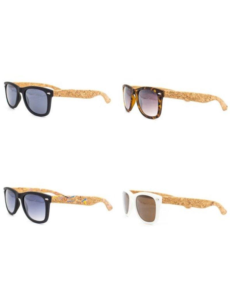 Captain Cork Vegan Sunglasses with corks foldable storage box WHITE