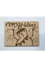 Captain Cork Wooden congratulating card