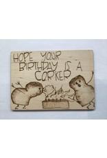 Captain Cork Wooden Birthday card