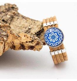 Captain Cork kurken armband natuur met bloemencirkel
