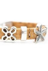 Captain Cork Cork bracelet nature with silver