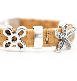 Captain Cork Kurken armband zilver-natuur
