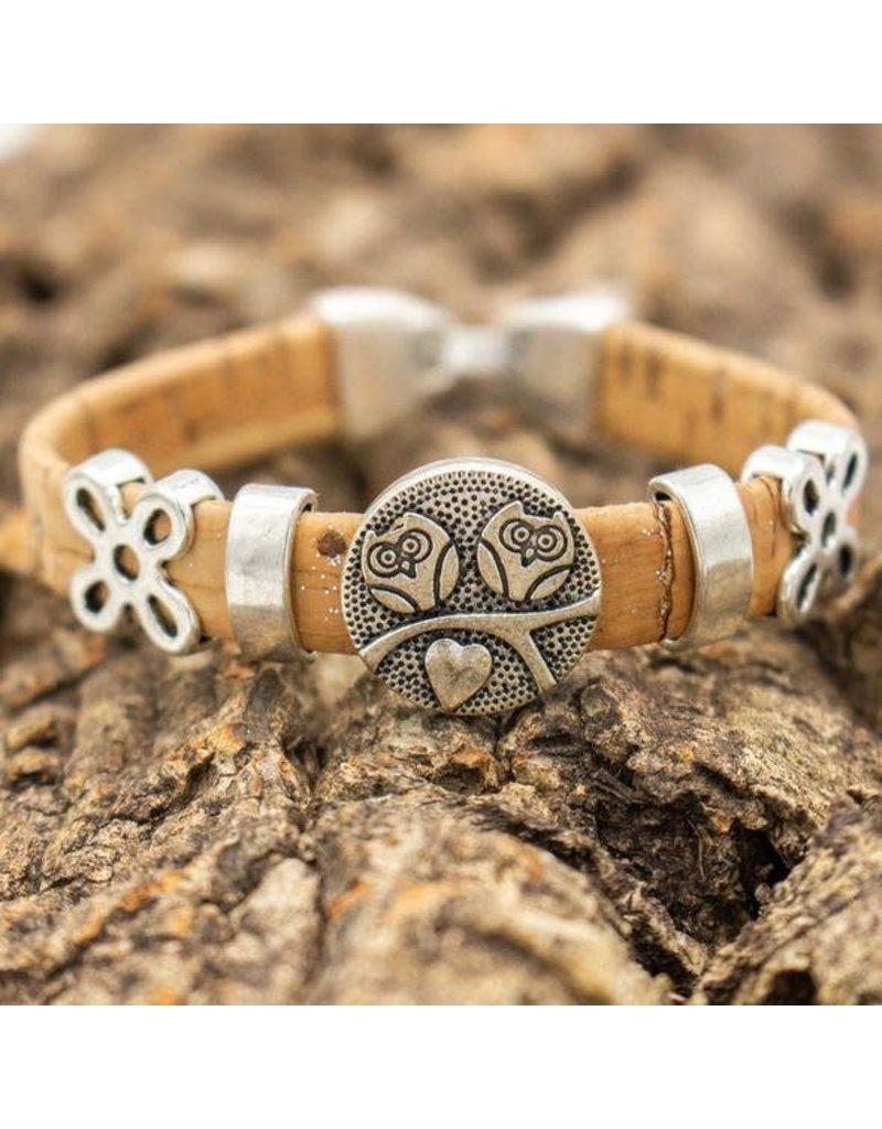 Captain Cork Natural cork cute owl bracelet
