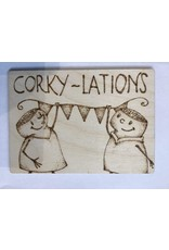 Captain Cork Wooden congratulating card