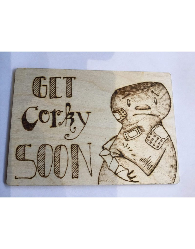 Captain Cork Wooden recovery card