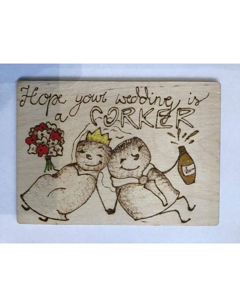 Captain Cork Wooden wedding card