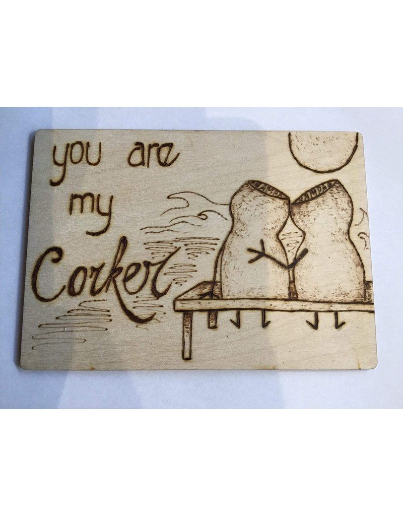 Captain Cork Wooden love card