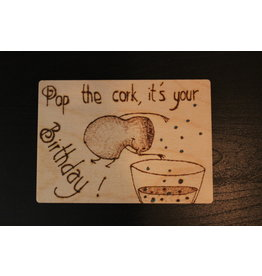 Captain Cork Wooden Birthday card
