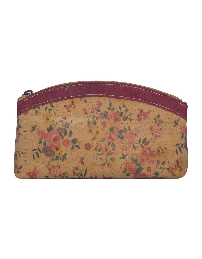 Captain Cork HIRA - Master clutch/make-up bag out of cork with wonderful flowerprint