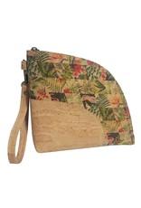 Captain Cork LILOU - Clutch/handtasje uit kurk met spectaculaire tropische bloemenprint