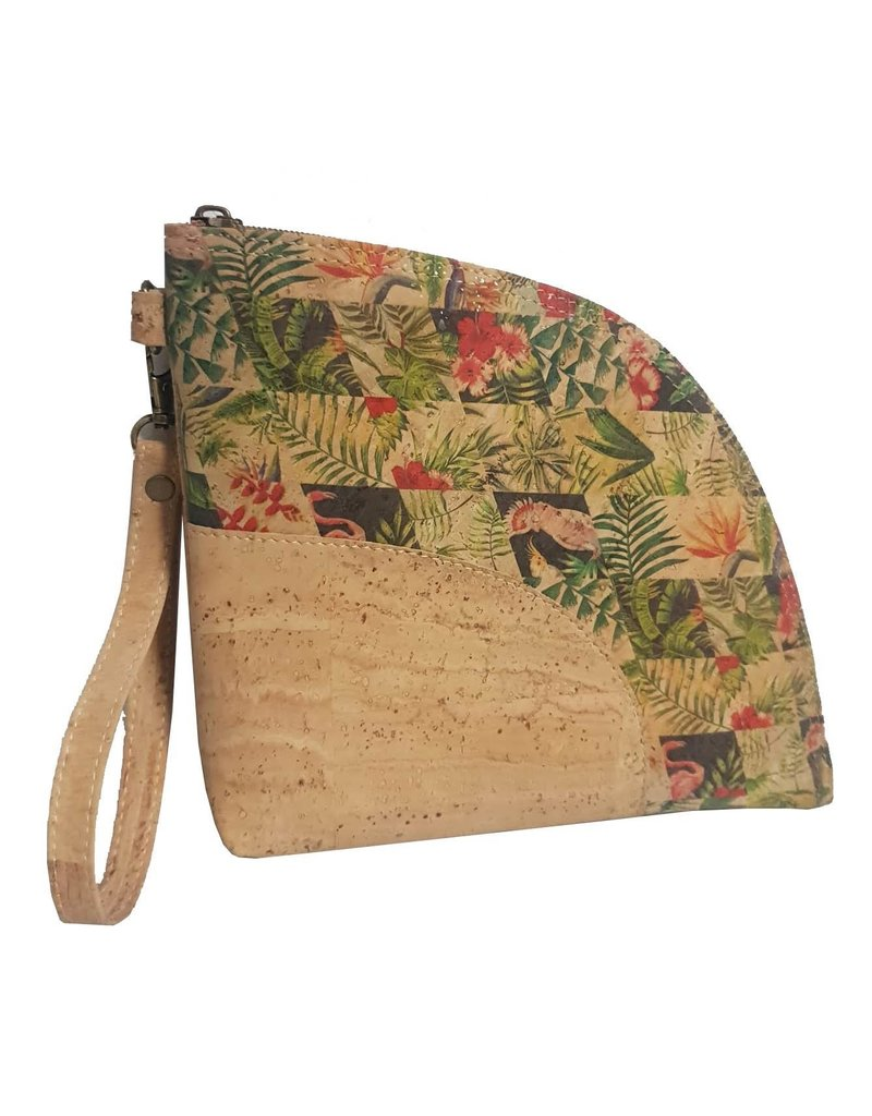 Captain Cork LILOU - Sustainable clutch/hand bag with spectacular tropical print