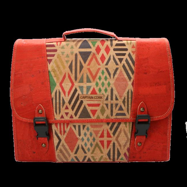 Captain Cork De kleine KAPITEIN - Mooie, duurzame boekentas in rode kurk met coole print