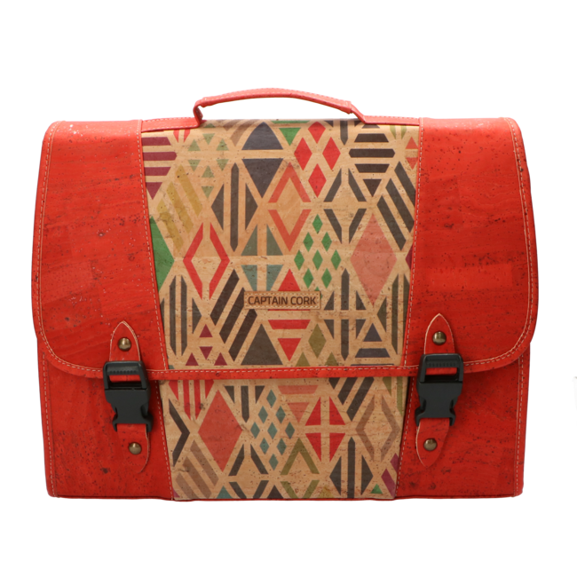 Captain Cork The little CAPTAIN - Beautiful sustainable schoolbag in red cork with cool print