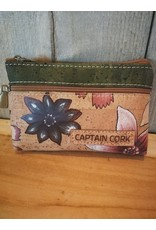 Captain Cork Celeste Leuke bloemen portemonnee in kurk kleur met florale print