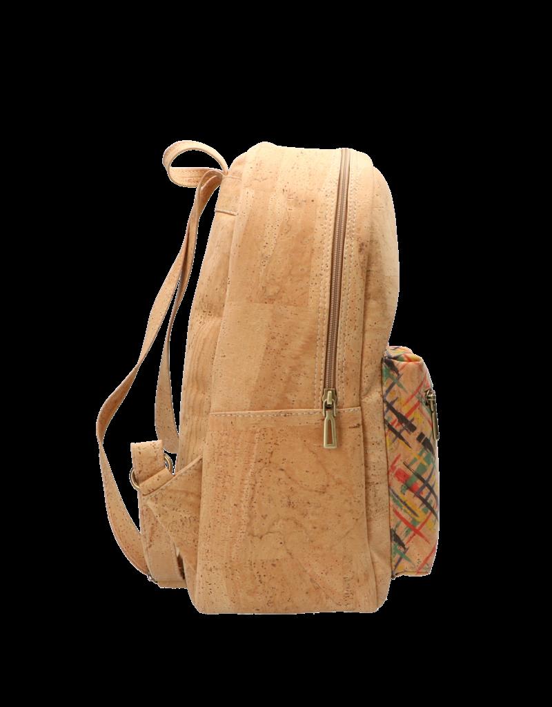 Captain Cork MARGOT - Duurzame rugzak /schooltas /business tas in natuurkleur met vlotte print