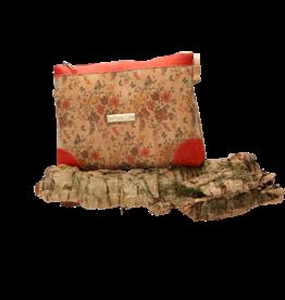 Captain Cork LORE - Romantische schoudertas met fijne bloemetjes en rode details/Captain Cork Label
