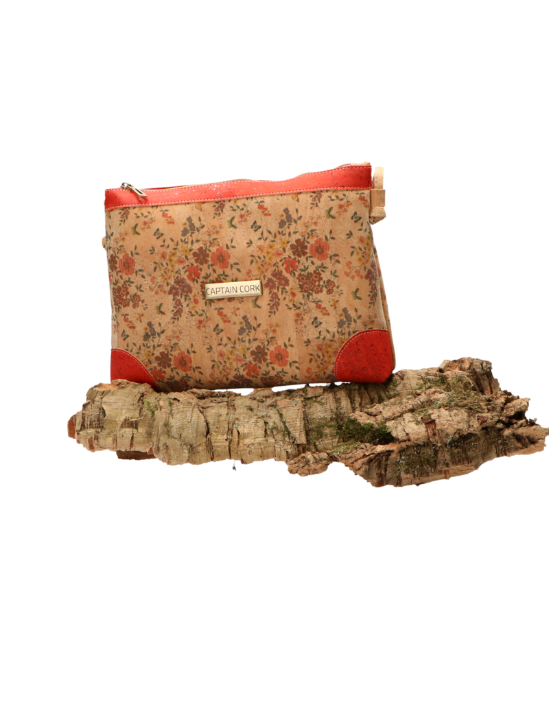 Captain Cork LORE - Romantische schoudertas met fijne bloemtjes, rode details en een rits/Captain Cork Label